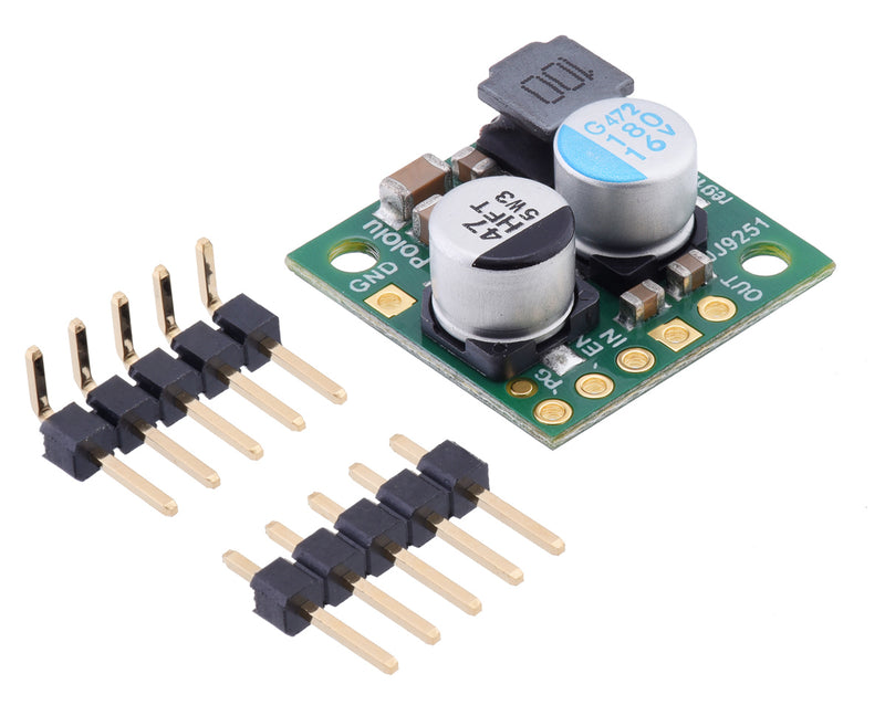 Pololu Step-Down Voltage Regulator D24V22Fx with included hardware.