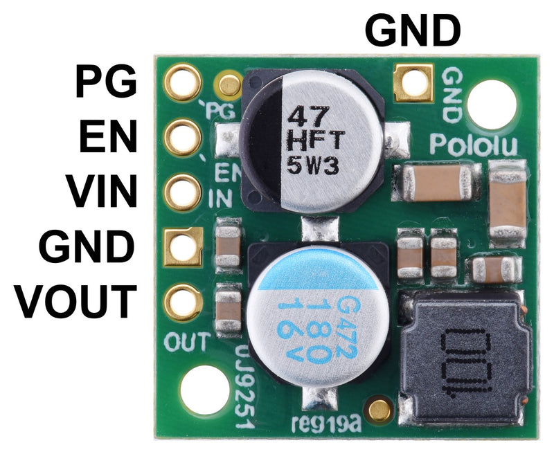 Pololu Step-Down Voltage Regulator D24V22Fx, top view with labeled pinout.