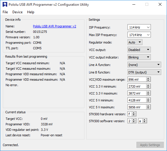 The Pololu USB AVR Programmer v2 Configuration Utility in Windows 10.