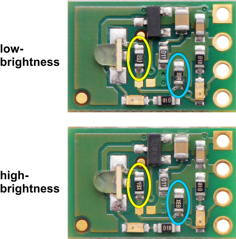 You can tell the high- and low-brightness versions of the 38 kHz IR proximity sensor apart using R3 (yellow) and R4 (blue) on the emitter side.