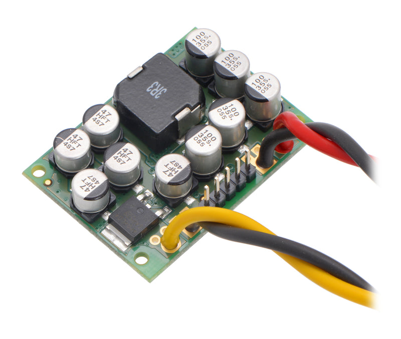 Pololu Step-Down Voltage Regulator D24V150Fx showing wires soldered directly to the board.
