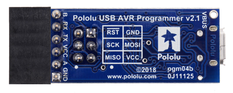 Pololu USB AVR Programmer v2.1, bottom view.