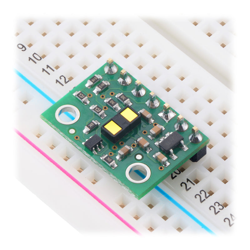VL53L1X Time-of-Flight Distance Sensor Carrier in a breadboard.