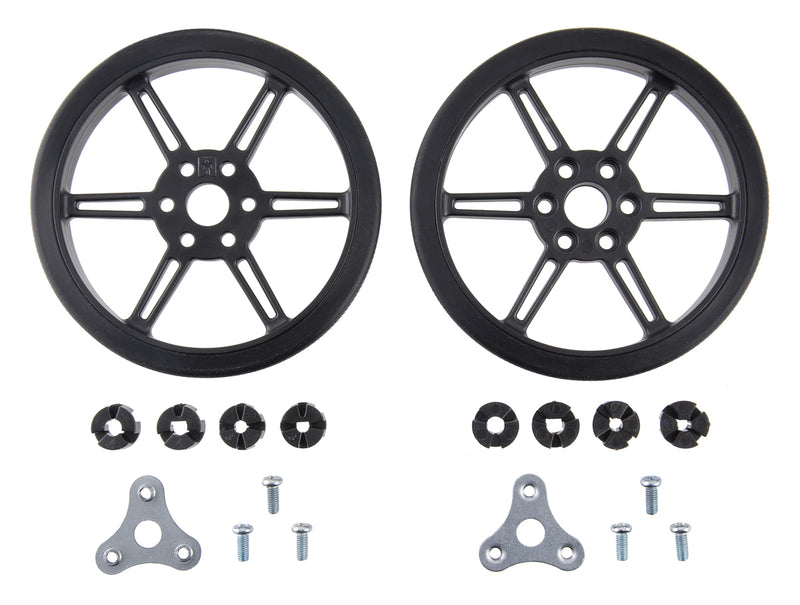 Pololu Multi-Hub Wheel w/Inserts for 3mm and 4mm Shafts - 80×10mm, Black, 2-pack.