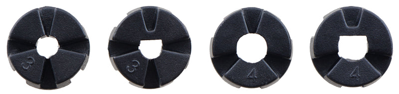Pololu Multi-Hub Wheel collet inserts: 3mm round, 3mm D, 4mm round, and 4mm D.