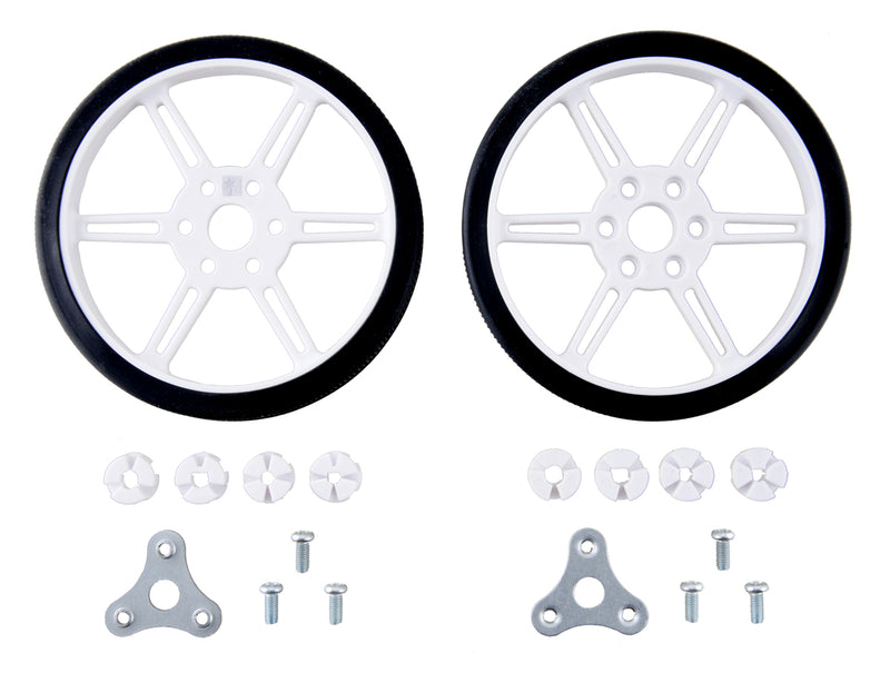 Pololu Multi-Hub Wheel w/Inserts for 3mm and 4mm Shafts - 80×10mm, White, 2-pack.