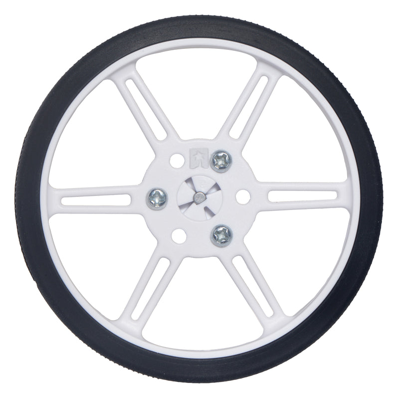 White 80×10mm Pololu Multi-Hub Wheel installed on a 3mm D-shaft.