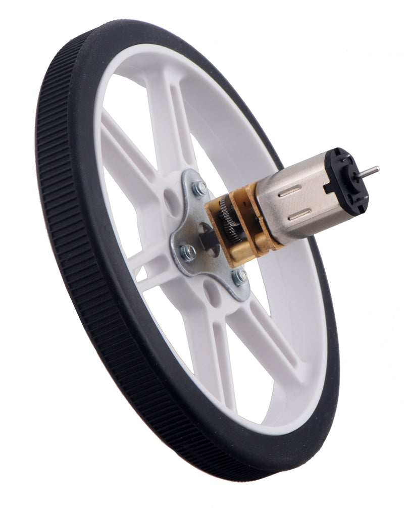 80×10mm Pololu Multi-Hub Wheel installed on the 3mm D-shaft of a micro metal gearmotor.