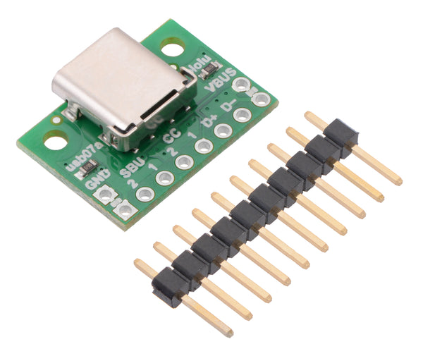 USB 2.0 Type-C Connector Breakout Board with included optional header pins.