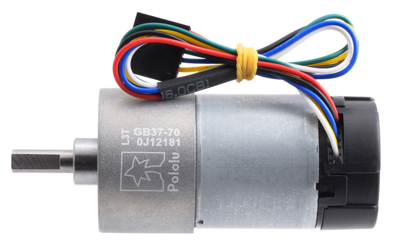 70:1 Metal Gearmotor 37Dx70L mm 12V with 64 CPR Encoder (Helical Pinion) Pololu 4754