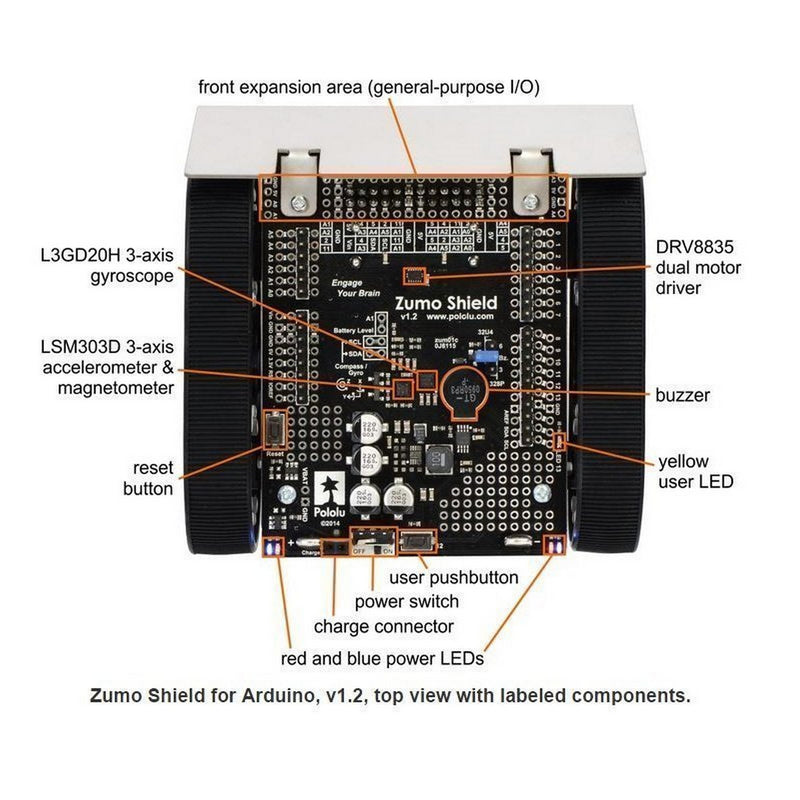 Zumo Robot for Arduino V1.2 (Assembled with 75:1 HP Motors) Pololu 2510