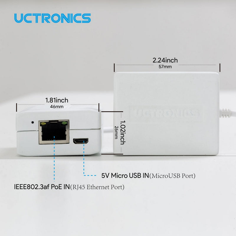 UCTRONICS PoE Adapter to Micro USB (Ethernet+Power) for Raspberry Pi Zero, Fire TV Stick, Chromecast, Google Mini, and More, IEEE 802.3af Compliant U6113