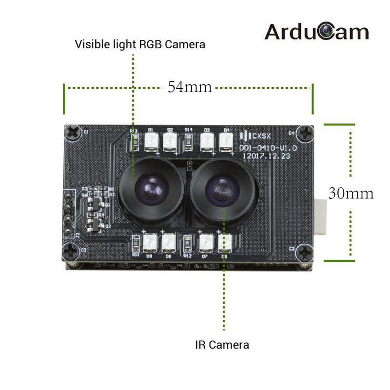 Arducam Stereo USB Camera, Synchronized Visible Light and Infrared Camera, 2MP 1080P Day and Night Mini UVC USB2.0 Webcam Board for Face Recognition and Biological Detection B0198