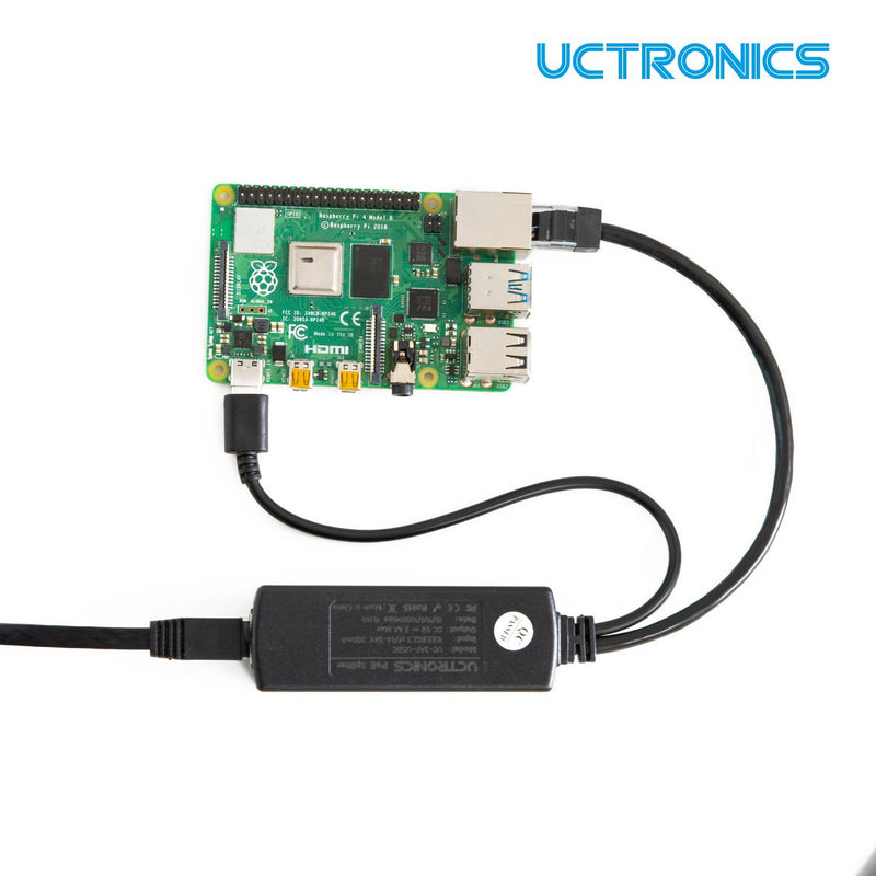 UCTRONICS PoE Splitter USB-C 5V - Active PoE to USB C Adapter, IEEE 802.3af Compliant for Raspberry Pi 4, Tablets and More U6115