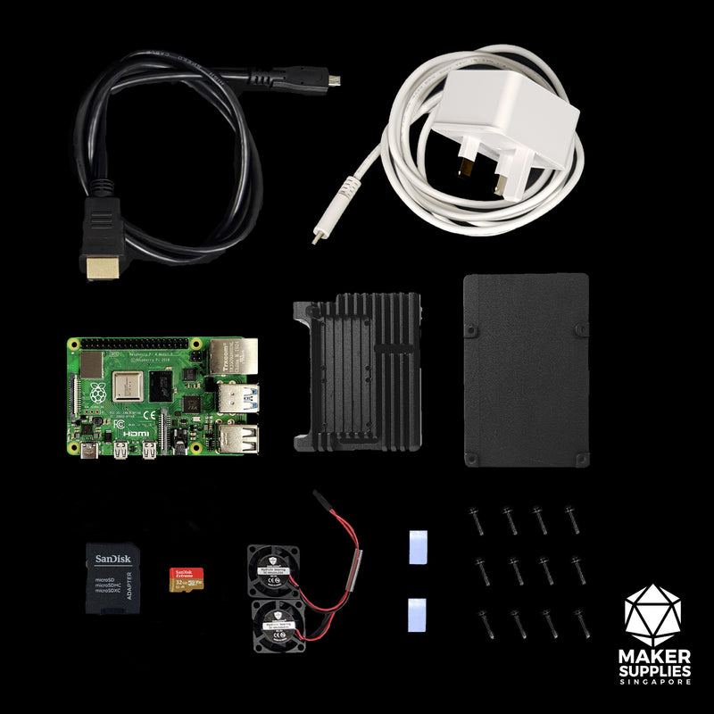 Raspberry Pi 4 Basic Bundle with Aluminium Casing