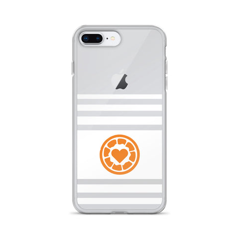 White Stripe, Orange Heart - iPhone Case
