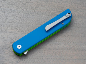Blue & Green pocket knife with clip. Finch Cimarron