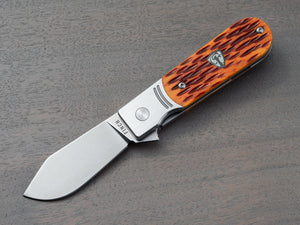 EDC pocket knife with jigged bone handle