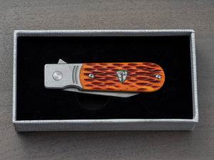 Jigged bone handle pocket knife in a box from Finch Knife Company
