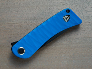 Blue handled pocket knife with black blade