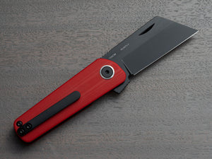 RUNTLY - unique pocket knife with black blade and red handle