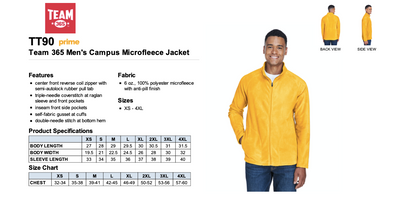 Men's Campus Microfleece Jacket - Sport Ath Gold