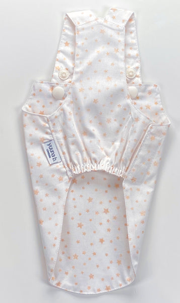 Boy Overall Night Sky Stars - Gold on white