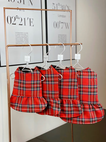 Girl Coat Tartan - Red