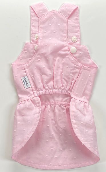 Girl Overall Dotted Swiss Fine Lawn - Baby Pink
