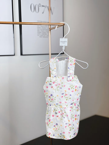 Girl Overall Dotted Swiss Fine Lawn - Delicate multi spring on white