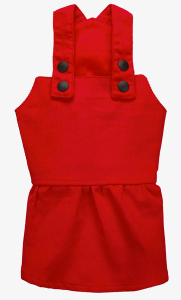 Girl Overall Plain Babycord - Red