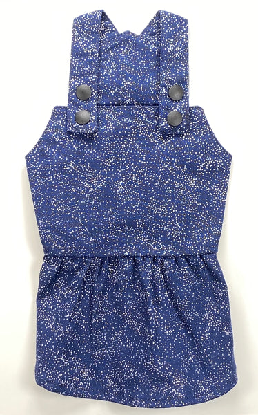 Girl Overall Scattered Tiny Silver Dots - Navy