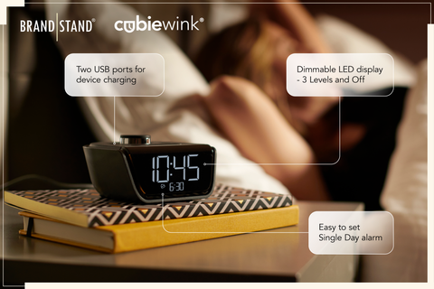 The CubieWink - Brandstand's small but powerful hotel alarm clock.