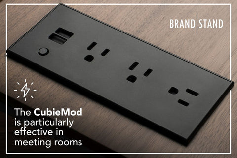 Flush mount power products like the Brandstand CubieMod are particularly effective in meeting rooms.