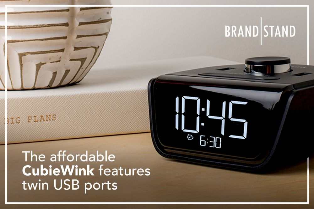 The affordable Brandstand CubieWink alarm clock features twin USB ports for in-room charging
