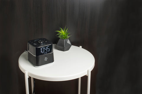 The Brandstand CubieBlue: A charging hotel alarm clock with a built-in Bluetooth speaker.