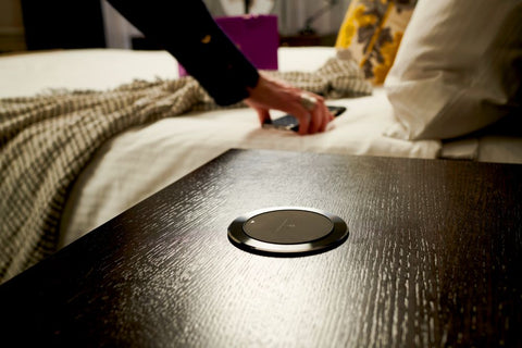 The Brandstand CubieSpot is a secure, flush mount wireless charger designed for the hospitality industry.