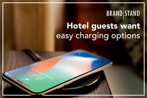 Hotel guests want easy charging options. Give it to them with Brandstand power products.