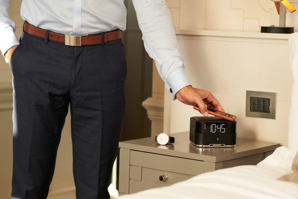 Wirelessly charge your devices with the Brandstand CubieDuo alarm clock.