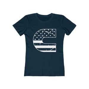 C Distressed Flag Women's The Boyfriend Tee