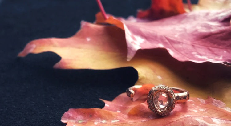 Rose gold and rose cut diamond engagement ring