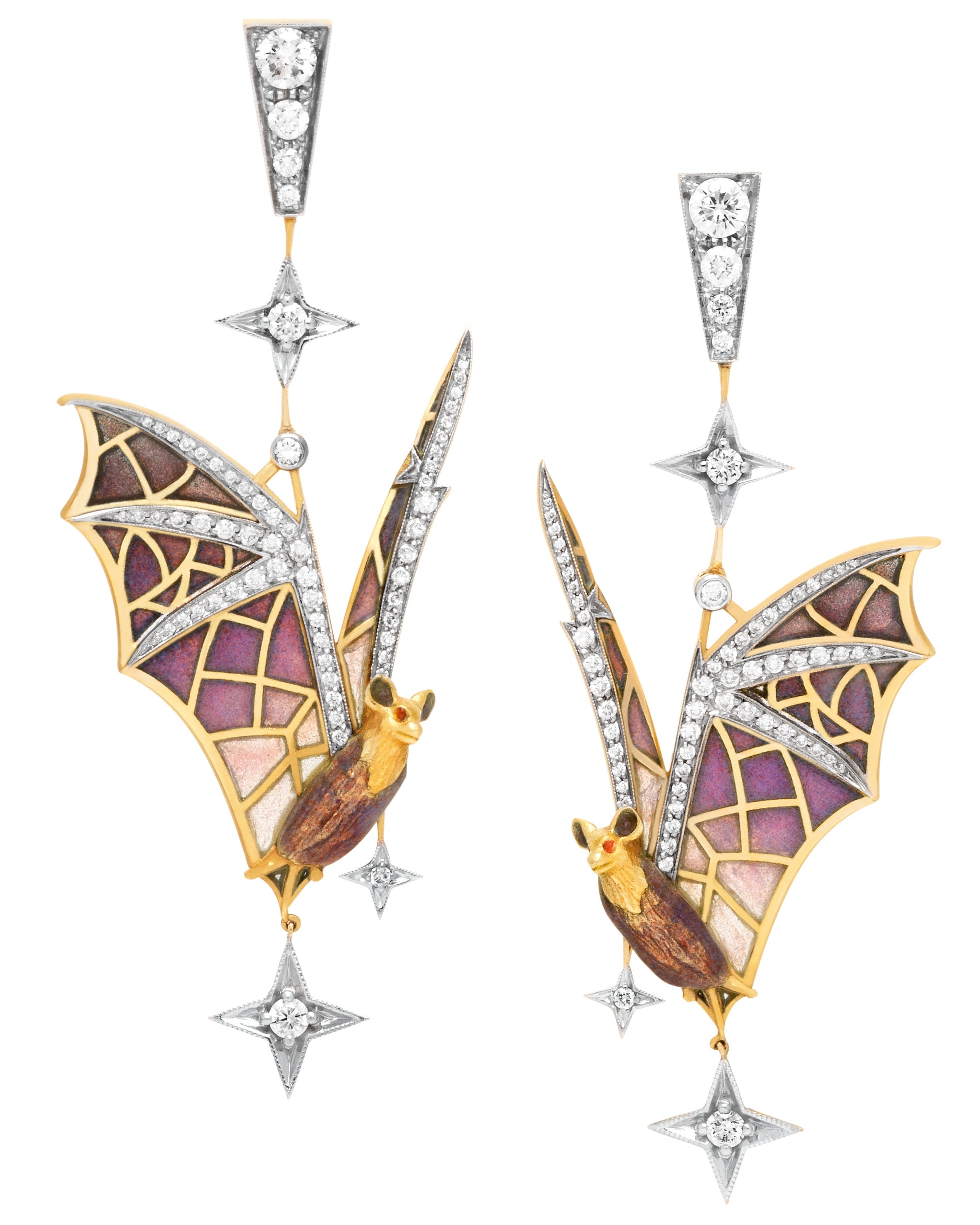 Masriera Art Nouveau Bat Diamond Earrings