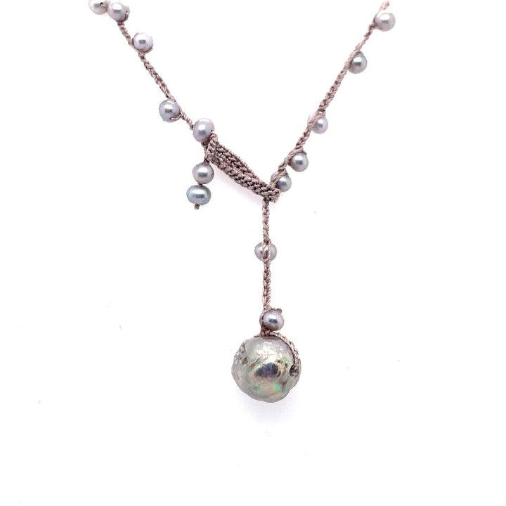 Grey freshwater pearl necklace with edison pearl drop