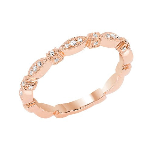 Rose Gold Geometric Diamond Band