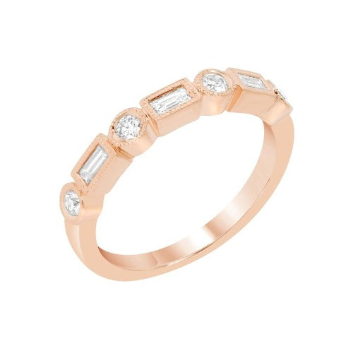 Baguette & Round Brilliant Diamond Rose Gold Band