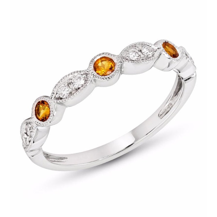 Citrine and Diamond Stackable Band