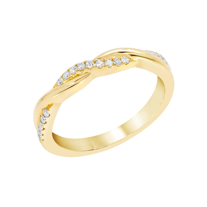 Yellow gold twisted diamond band