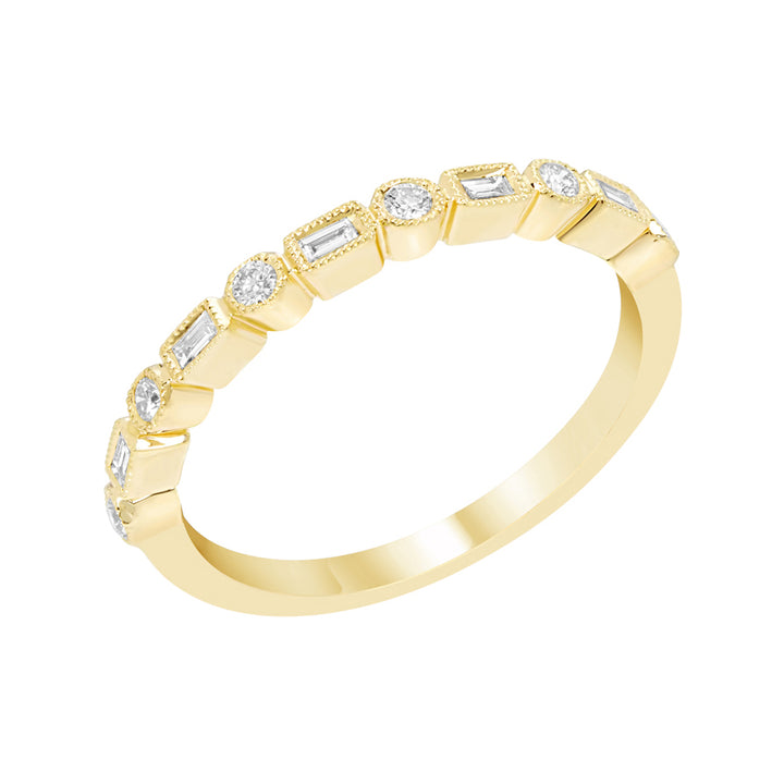 Yellow Gold Round Brilliant Cut and Baguette Diamond Band
