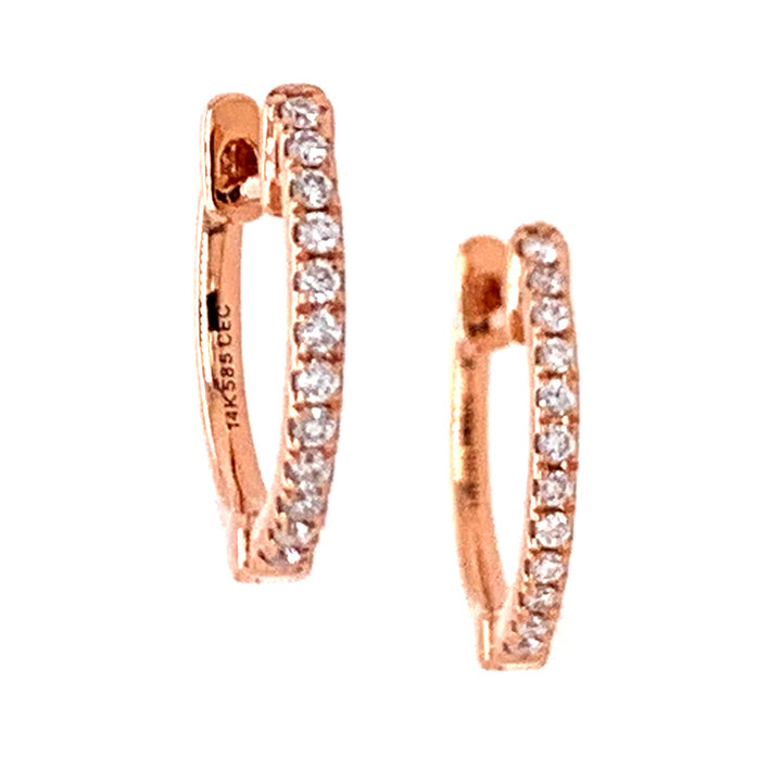 Petite Rose Gold Diamond Huggie Hoops