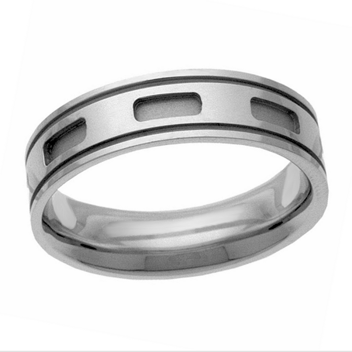 Etched ovals band in sterling silver